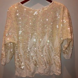 Vintage ivory irredeacent sequin tunic top